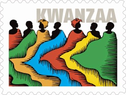 Libro y sellos estadounidenses con motivo de Kwanzaa.